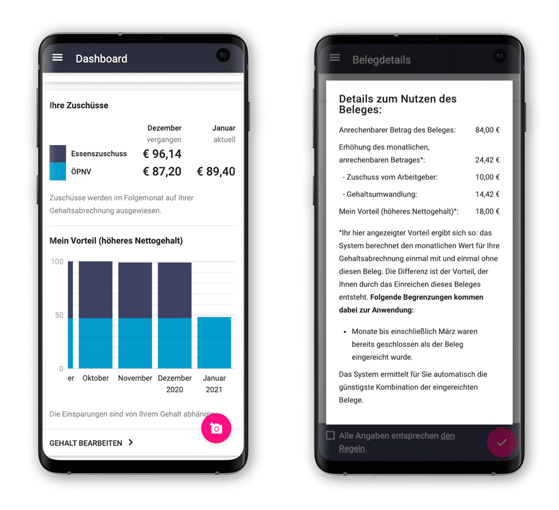 billyard App für Mitarbeiter-Benefit Zuschüsse Dashboard