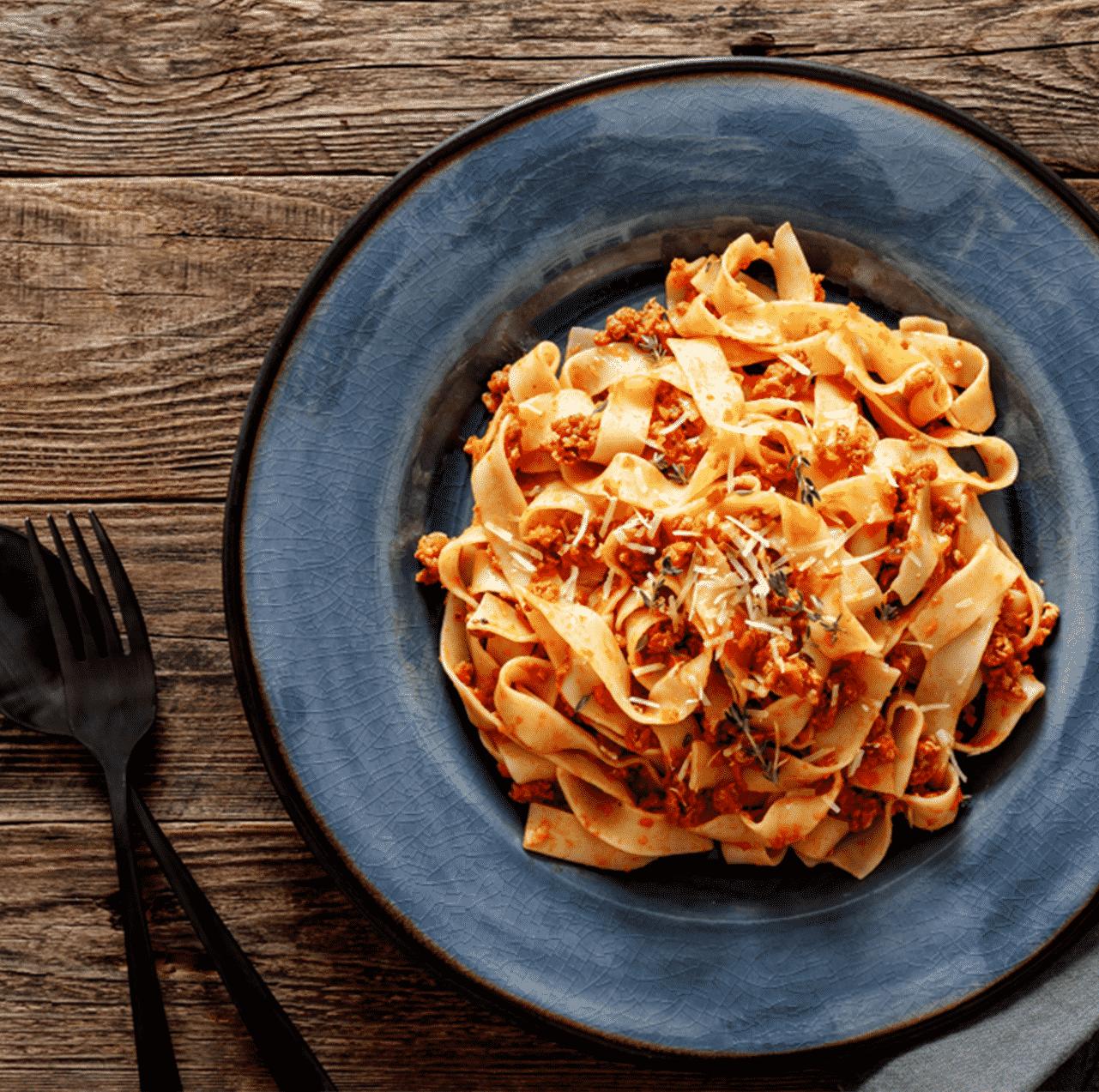 Verpflegung im Homeoffice Pasta auf Teller